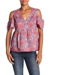 Lucky Brand Medium Ruffle Floral Cold Shoulder Top